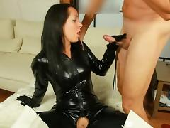 Sexy in Shiny Black Catsuit tube porn video