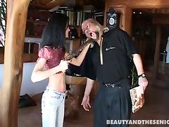 A cute teen babe gets drilled by a pervy older dude