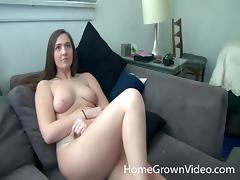 Lovely amateur moans erotically as her shaved beaver gets screwed hardcore