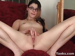 Pleasuring her tight snatch
