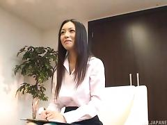 After the interview Aino Kishi jerks a guy off in her office