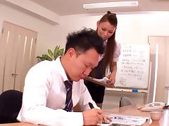 Asian office girl goes out of her way to please her boss