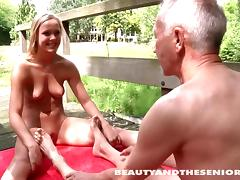Dad and Girl, Couple, Hardcore, Nude, Old Man, Outdoor