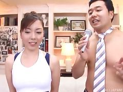 Three cumshots make the face of a Japanese cocksucker