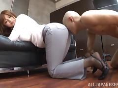A curvy Asian model with a round ass sits on a guy's face porn tube video