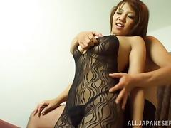 Body stocking girl with sexy curves filled with dildo and dick porn tube video