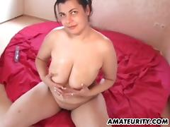 Chubby amateur GF toys and sucks with cum on tits porn tube video