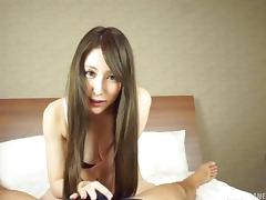 Blowjob from a Japanese cutie in pretty pink satin panties tube porn video