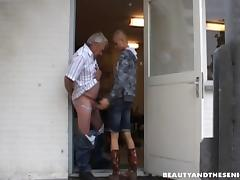 A young hottie with a shaved head gives it up to an older guy
