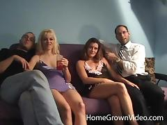 Duo of filthy chicks arrange for an outstanding foursome sex action porn tube video