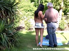 Old man got a hot babe in garden to fuck