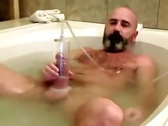 Curly Dad Pumps and Cums in the Washroom tube porn video