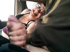 Car, Amateur, Brunette, Car, Handjob, Masturbation