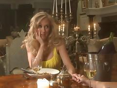 Stunning blonde lesbian with a hot body enjoying a hardcore dildo fuck