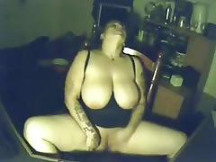My pervert busty woman having pleasure at PC. Hidden cam