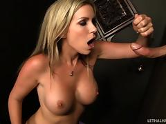 Courtney Cummz visits a gloryhole and milks a guy dry tube porn video