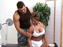 Female bodybuilder with sexy big tits fucks her personal trainer porn tube video
