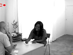 Porn audition with a curvy black girl getting pounded hard