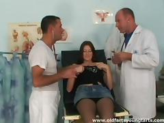 Doctor student gets a sexual lesson from two beefy cocks