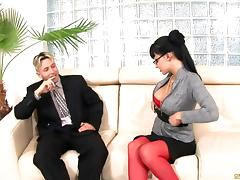 Gosh, I envy this lucky office clerk! as she gets pricked by a horny stud