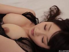 Misato could not resist orgasm with fingers and a stiff pecker attending to her furry furnace