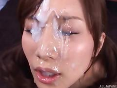 Perverted Asian slut gets blowbanged & covered in creamy cum