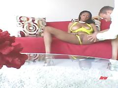 Big tit black woman receives a good fucking from a white dude porn tube video