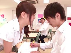 Naughty Asian teacher talks her nerdy students into a saucy mmf threesome in class