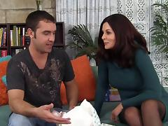 Horny cougar with long black hair aroused with the hardcore fucking the stud awards her