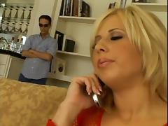 Big cock double penetration sex stretches a blonde whore