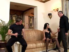 Gangbanged brunette keeps her sexy black stockings on