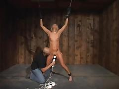 Sexy blonde tied, manhandled and vibrated for many orgasms