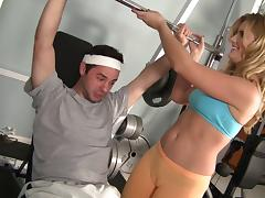 She spots him during a bench press then he presses his cock into her pussy porn tube video