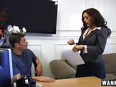 She shows how badly she wants the job by fucking the boss