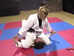 Girls wrestling in kimonos (pindown match)