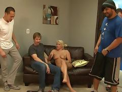 Cuckolding blonde bitch gets fucked hardcore by three dudes