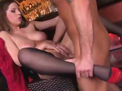 Business MILF in stockings and lace body fucks in a bar porn tube video