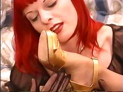 Redhead lesbo with nipple piercings removes stockings & sucks feet of goth slut porn tube video