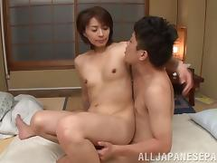 Hairy pussy Japanese slut receives a meaty dick up her vagina porn tube video