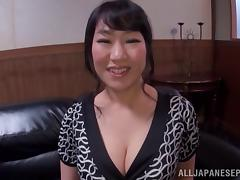 Japanese tits lactate on his cock before she sucks him