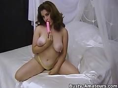 Hairy pussy Jonee playing with dildo