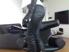 Smoking brunette - pants + boots