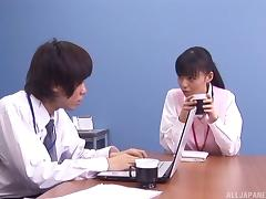 Secretary jerks off her boss to relieve his stress at work