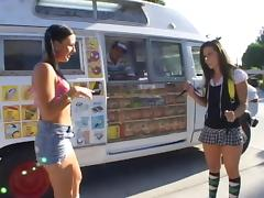 A couple of hot girls hook up with the ice cream man