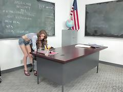 Sweet teen with long curly hair fucks her older teacher tube porn video