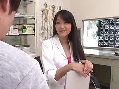 Hot Japanese doctor in pantyhose fucks a lusty patient