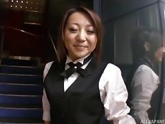 Sexy bartender fucks a customer and takes his nut on her ass
