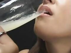 Manami Suzuki drinks cum