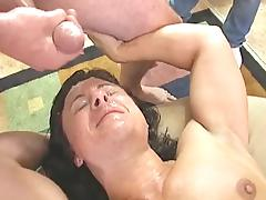 Muscular chick fuck and bukkake