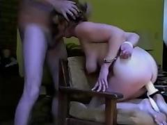 Handcuffed amateur mature toyed, fucked and facialized